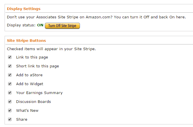 Amazon Affiliate Display Stripe Options