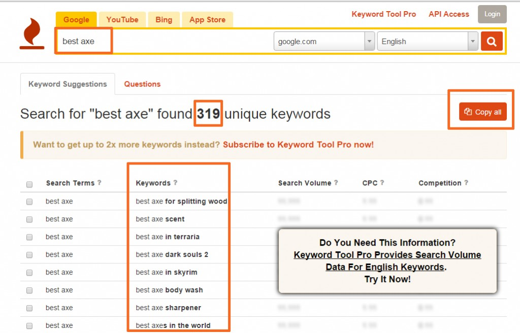 Keyword Tool Long Tail Keywords