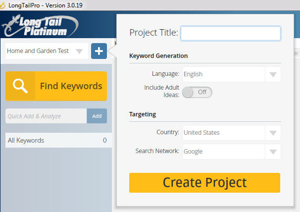 Long Tail Pro Keyword Research 1